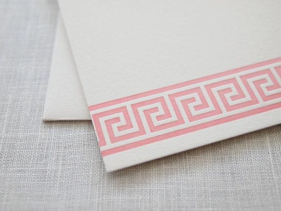 Greek Key Letterpress Stationery - Set of 6 Flat Notes