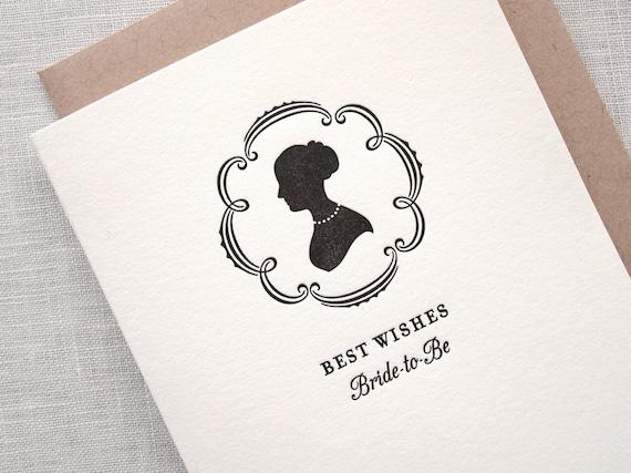 SALE Letterpress Bridal Shower Card - Silhouette