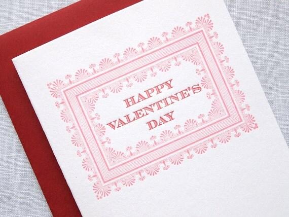 Letterpress Happy Valentines Day Card - Victorian Frame Valentine