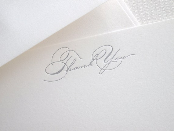 Script Thank You Letterpress Stationery - Set of 6 Flat Notes