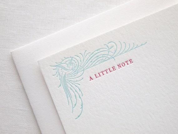 Flourished Bird Letterpress Stationery - Set of 6 Flat Notes