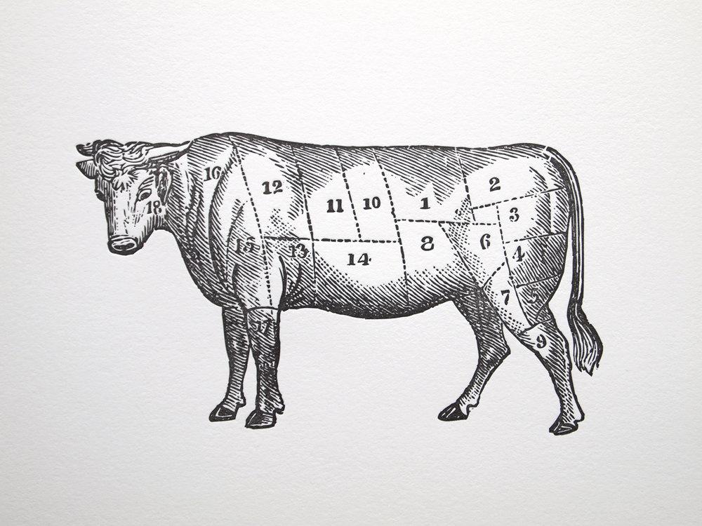 letterpress art print le boeuf 8x10 beef meat cuts chart. Black Bedroom Furniture Sets. Home Design Ideas