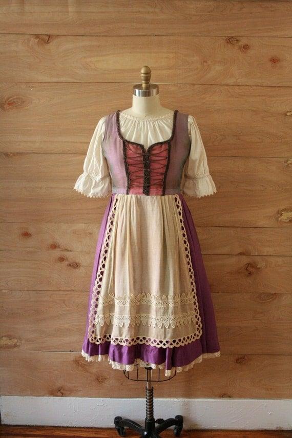 RESERVED Vintage Halloween Costume, Hansel & Gretel Dirndl with Undergarments