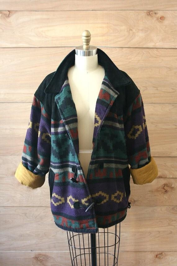 COAT SALE Vintage 80s Navaho Native American Toggle Coat