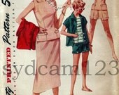 Vintage 50s Weekend Wardrobe Shorts Skirt and Overblouse Simplicity 1124 Bust 31