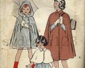 Vintage 1952 Girls Hooded Rain Cape or Short Cape Butterick 6034 Size 6