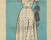 Vintage 1956 Daydress Flared Skirt Pointed Button Front Tabs Mail Order 9342 Bust 34 UNCUT