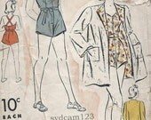 Vintage 1939 Button Tab CrissCross Straps Playsuit and Beach Coat...DuBarry 2285 Bust 34