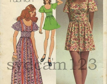 Vintage 1971 Flared Sleeve Scoop Neck Maxi or Mini Dress Simplicity 9725 Bust 34