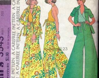 Vintage 1973 Halter...Wide Leg Pants...Button Front Jacket...McCalls 3543 Bust 31.5