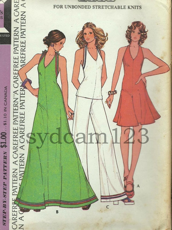 Vintage 1973 Halter Maxi or Mini Dress or Top and Wide Leg Pants McCalls 3634 Bust 32.5