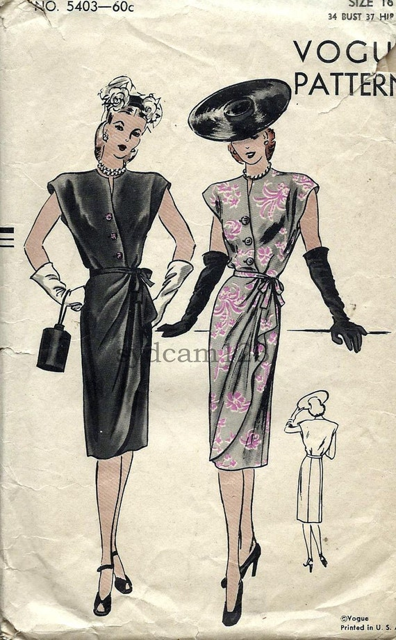 Vintage 1945 Diagonal Button Cocktail Dress Cascading Skirt...Cap Sleeves...Vogue 5403 Bust 34