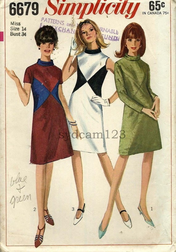 Vintage 1966 Mod A Line Color Block Dress...Bias Rolled Collar...Simplicity 6679 Bust 34