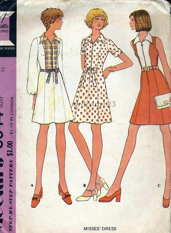 Vintage 1973 Zip Front A Line Shirtwaist Dress...Princess Seam..Sleeve Variation...McCalls 3544 Bust 36UNCUT