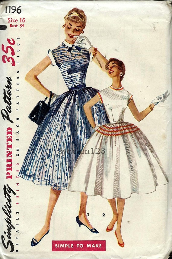 Vintage 1955 Circle Skirt Dress Brief Kimono Sleeves...Optional Collar and Cuffs...Simplicity 1196 Bust 34 UNCUT