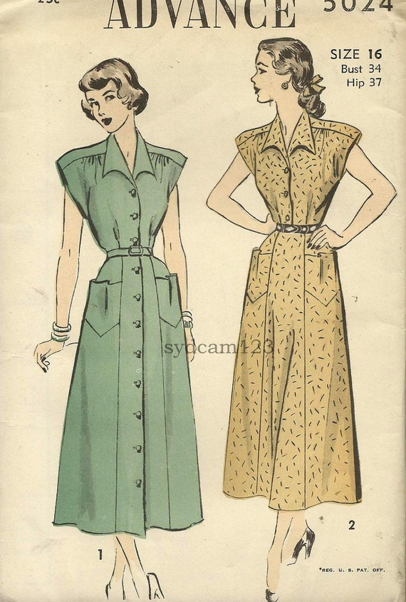 Vintage 1948 Wing Collar Shirtdress Pointed Pockets Brief Sleeves...Advance 5024 Bust 34 UNCUT
