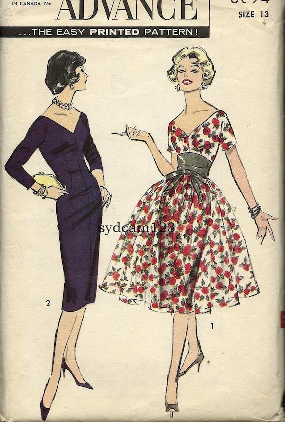 Vintage 1959 Low V Neck and Back Wiggle Cocktail Dress...Full Overskirt and Sash...Advance 8894 Bust  33 UNCUT