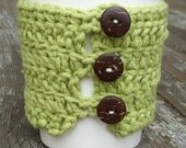 ON SALE 20 Percent Off - Light Green Coffee Cozy with Coconut Buttons- Cotton