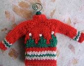 Hand Knit Red & Green Fair Isle Sweater Ornament