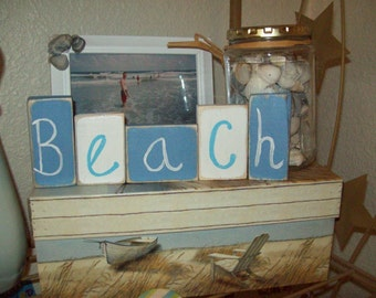 Blue And White Beach Blocks Beach Decor Cottage Decor Shabby Chic Beach Bedroom