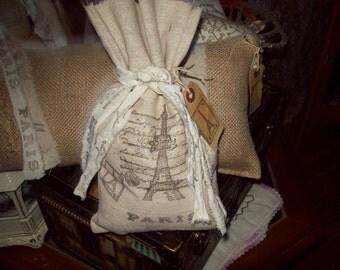 Shabby handstamped Eiffel tower bag gift bag Paris decor,shabby chic,French decor