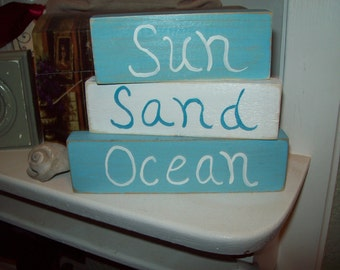 Shabby Beach Decor Sun Sand Ocean Shelf Sitter Signs Coastal Decor Beach Cottage