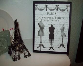 Shabby French plaque Paris dress forms,Paris decor,shabby chic,wall decor,French decor,Paris bedroom decor,Paris bathroom,French bedroom