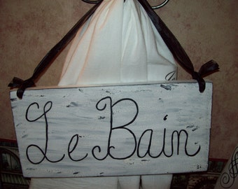 SHABBY Le Bain sign,PARIS bathroom decor,Paris decor,FRENCH decor,French bathroom,Paris wall decor,French wall decor