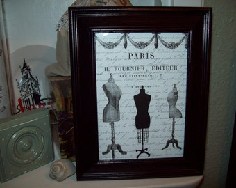 Shabby chic Paris picture frame dress forms ,Paris decor,French decor,Paris bedroom decor,French bedroom decor,Paris wall decor