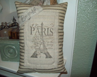 French small Eiffel Tower pillow black ticking I love Paris in the spring time,Paris decor,French bedroom,Paris bedroom decor,French decor