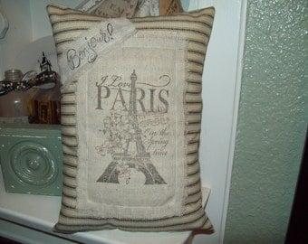 Small Eiffel Tower pillow I love Paris,Paris decor,Paris theme,Paris bedroom decor,Paris throw pillow,French theme bedroom