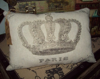 Small crown pillow vintage looking,Paris decor,French pillow,Paris theme,French bedroom decor,French throw pillow,Paris bedroom decor