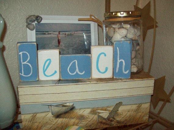 Blue and white BEACH blocks beach decor,COTTAGE decor,shabby CHIC,beach bedroom decor,beach bathroom,beach wedding