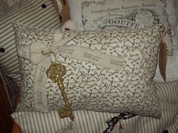 Shabby chic  decorative Paris pillow key fabric handstamped muslin bow glittered key Paris tag OOH LA LA