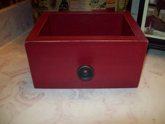 Shabby  chic  decor burgundy drawer box