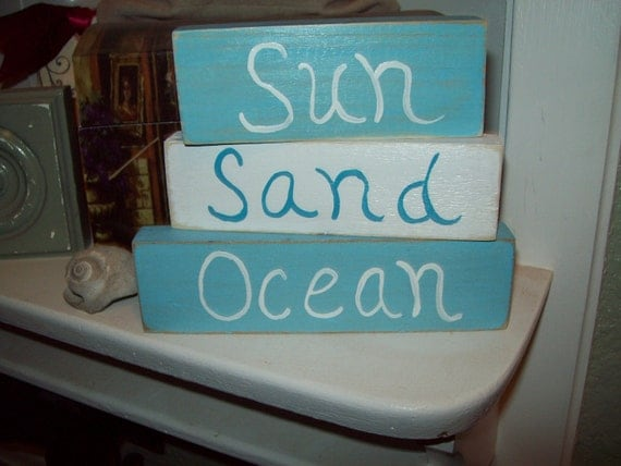 Shabby Beach Decor Sun Sand Ocean Shelf By JulieannasCreations
