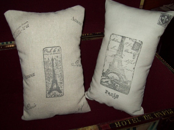 set of two Small French Eiffel tower shelf pillows handstamped,Paris decor,French decor,Paris bedroom decor,French bedroom,shabby chic