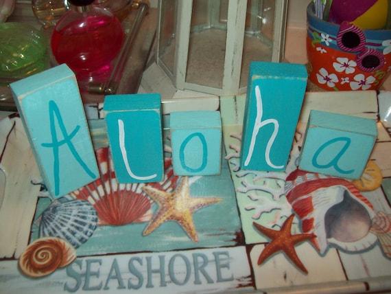 Aloha Letter blocks,Coastal decor,Beach decor,Nautical,Beach party decor,shabby chic,beach cottage,beach bedroom decor,beach bathroom