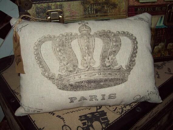 Small crown pillow vintage looking,Paris decor,French pillow,French bedroom decor,French throw pillow,Paris bedroom decor
