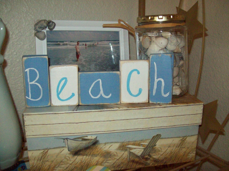 Beach cottage bathroom decor blocks beach decor cottage
