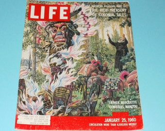 Vintage Life Magazine January 25 1960-Rich Treasury of Colonial Tales-Art-Scrapbooking-Vintage Ads- Cool Tiki cover