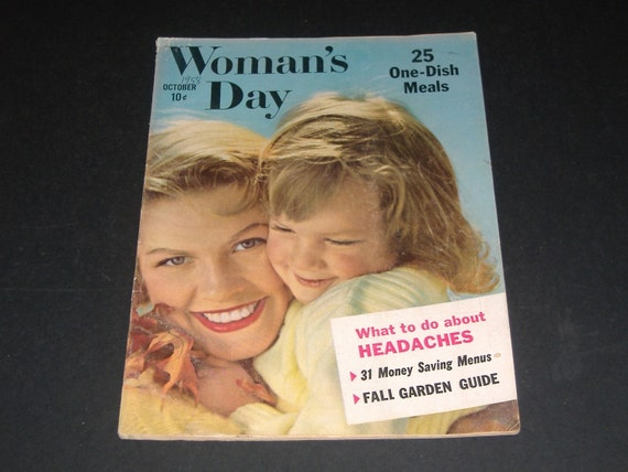 Vintage Womans Day Magazine October 1958-Art Scrapbooking Retro Collectible Vintage Ads