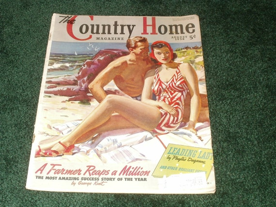 Vintage Country Home Magazine August 1938 - Collectible Paper Ephemera Art Scrapbooking