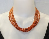 Orange Carnelian and Sterling Silver Four Strand Necklace