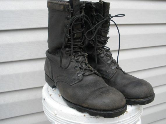 vintage black leather combat boots mens size 11
