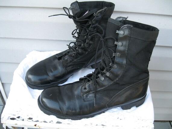 Vintage military boots black leather/canvas men size 12 women size 13 - 13 1/2