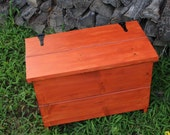 Blanket / Toy Chest, Safety Lid, Rustic Contemporary, Cinnamon Glaze Finish - Handmade