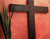 Large Rustic Cross.  Very Large Rustic Cross.  Wall Size Cross.  Church Cross.  Dark Brown Cross.  40 x 63 Cross - Handmade