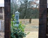 Framed Floor Mirror, Reclaimed Barnwood, Java Finish, 30 x 72 - Handmade