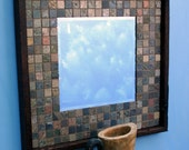 Slate Mirror, Java Finish, 23 x 23 - Handmade